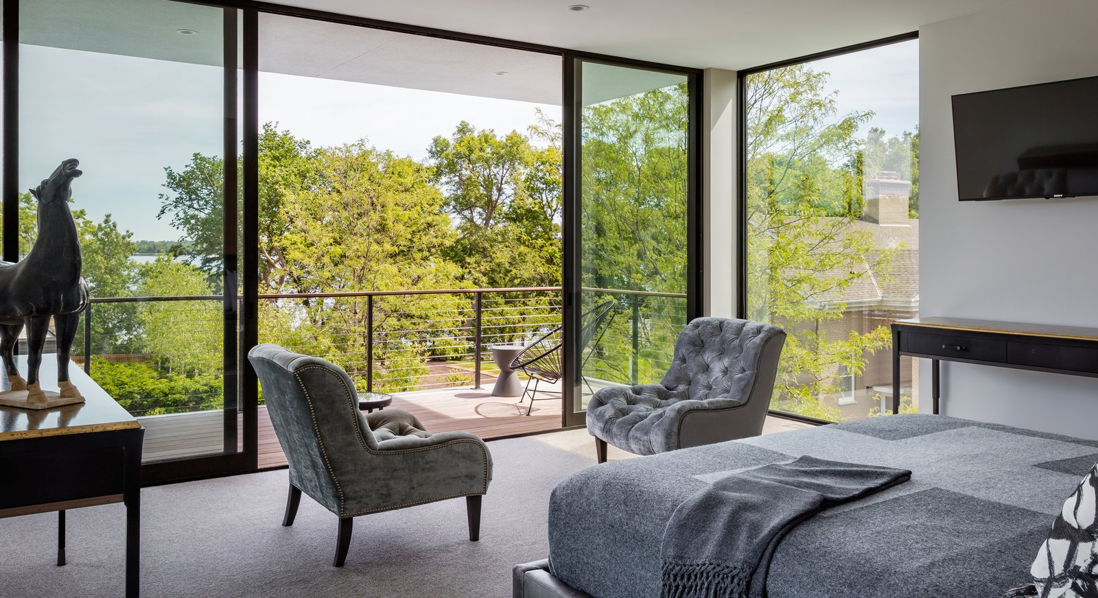 Bedroom, Bed, and Chair  Calhoun Pavilions Residence by Peterssen/Keller Architecture