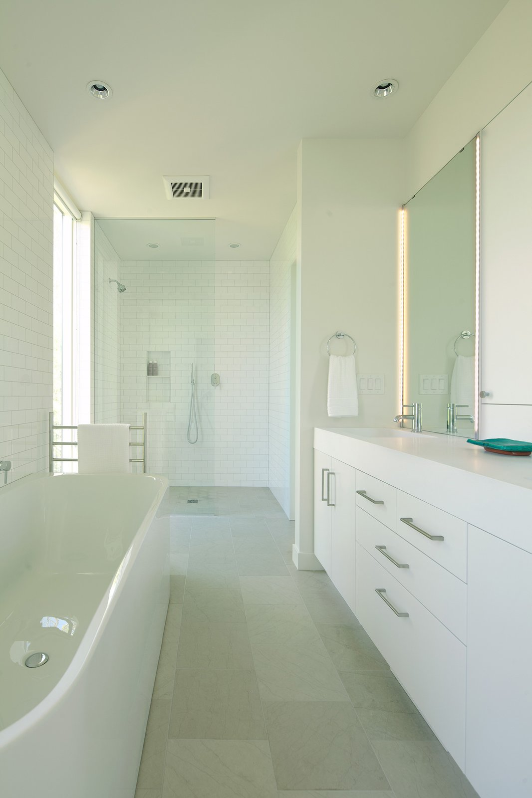Bath, Engineered Quartz, Porcelain Tile, Ceramic Tile, Vessel, Freestanding, Ceiling, Subway Tile, Open, and Wall  Best Bath Ceramic Tile Vessel Freestanding Photos from Sheridan Residence