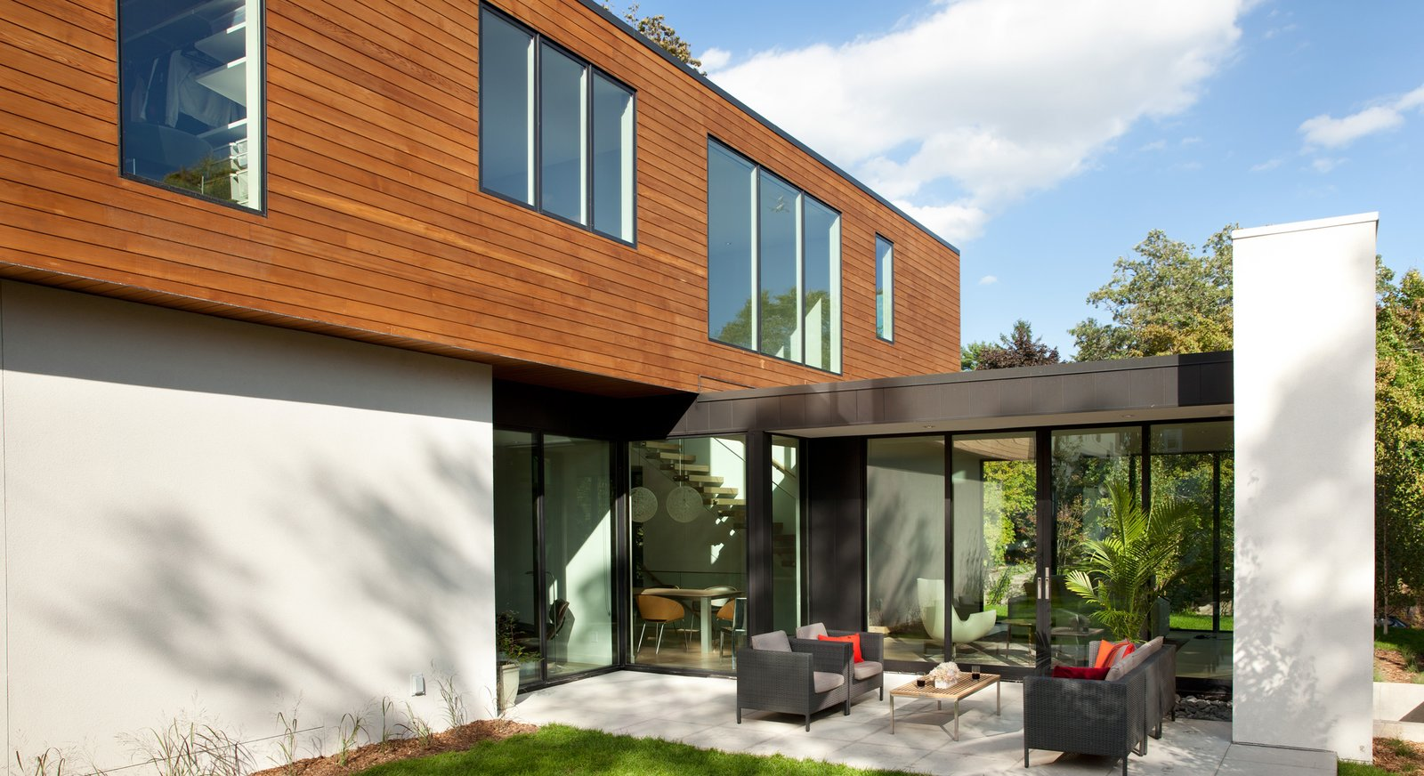Outdoor, Back Yard, Wood Patio, Porch, Deck, Metal Patio, Porch, Deck, and Pavers Patio, Porch, Deck  Sheridan Residence by Peterssen/Keller Architecture