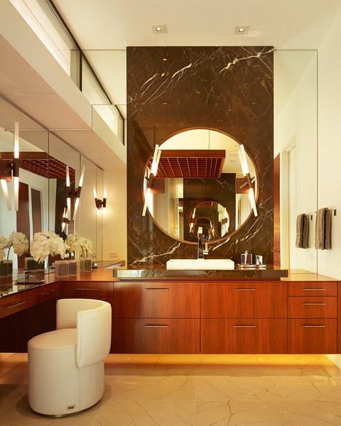 Bath, Accent, Ceramic Tile, Stone Slab, Wood, Wall, Vessel, and Recessed  Best Bath Wood Recessed Ceramic Tile Photos from Shoreline Residence