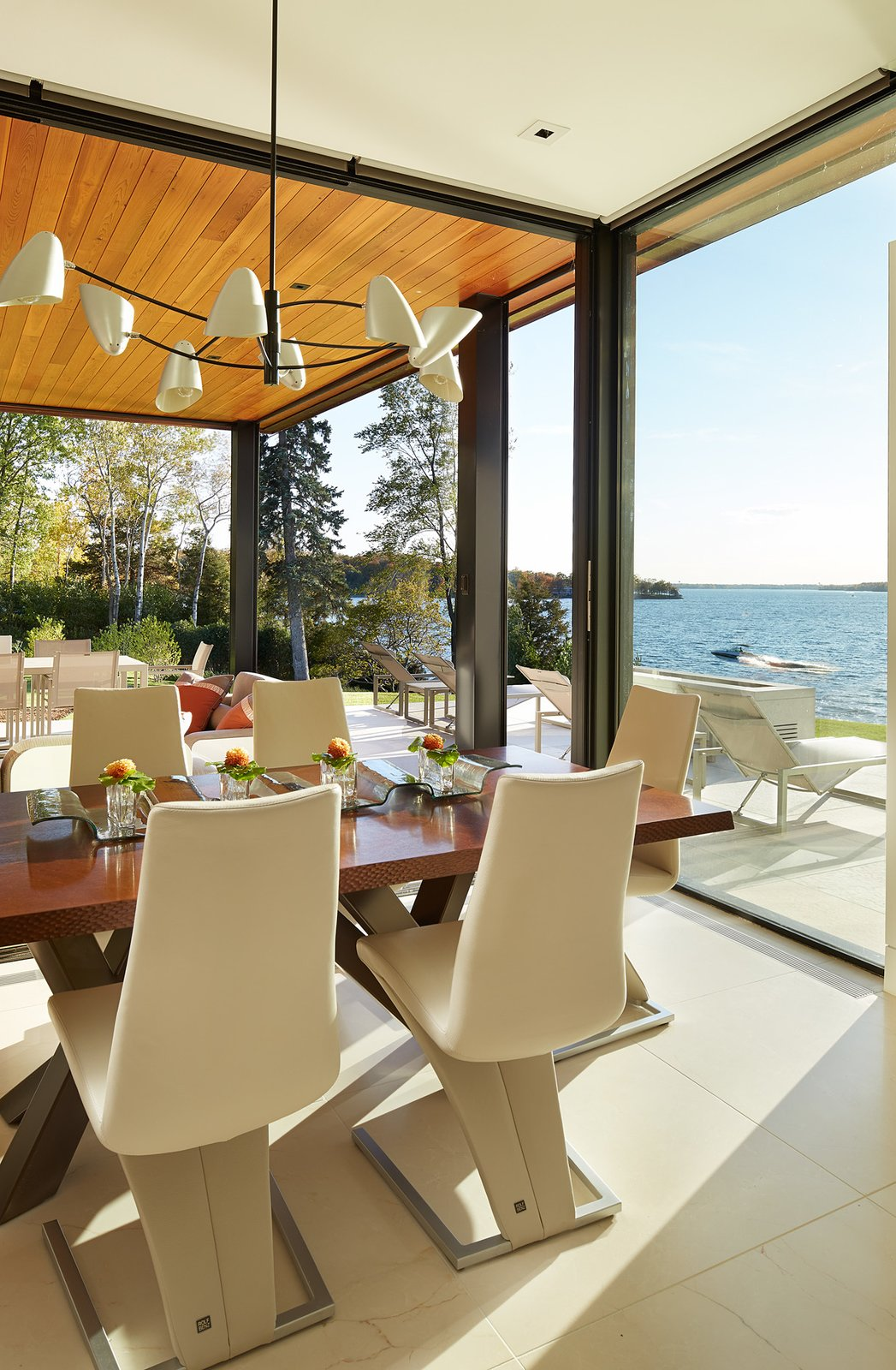 Dining Room, Pendant Lighting, Chair, Recessed Lighting, and Table  Shoreline Residence by PKA Architecture