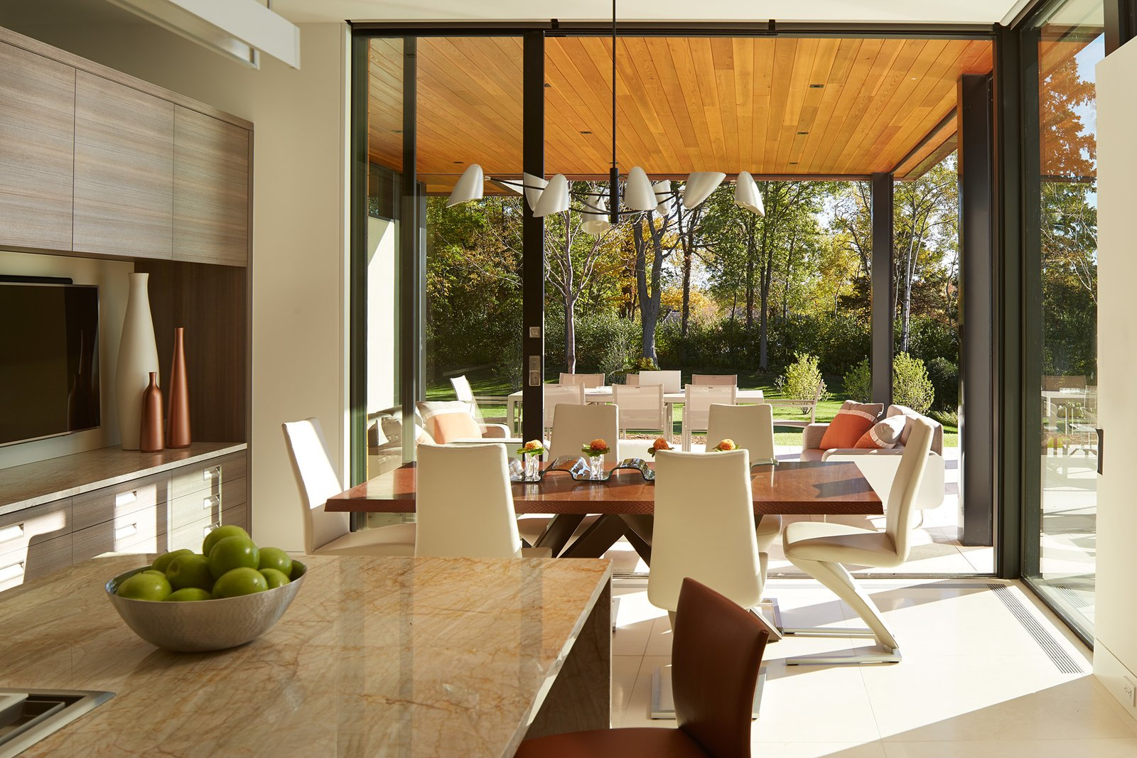 Dining Room, Table, Pendant Lighting, and Chair  Shoreline Residence by PKA Architecture