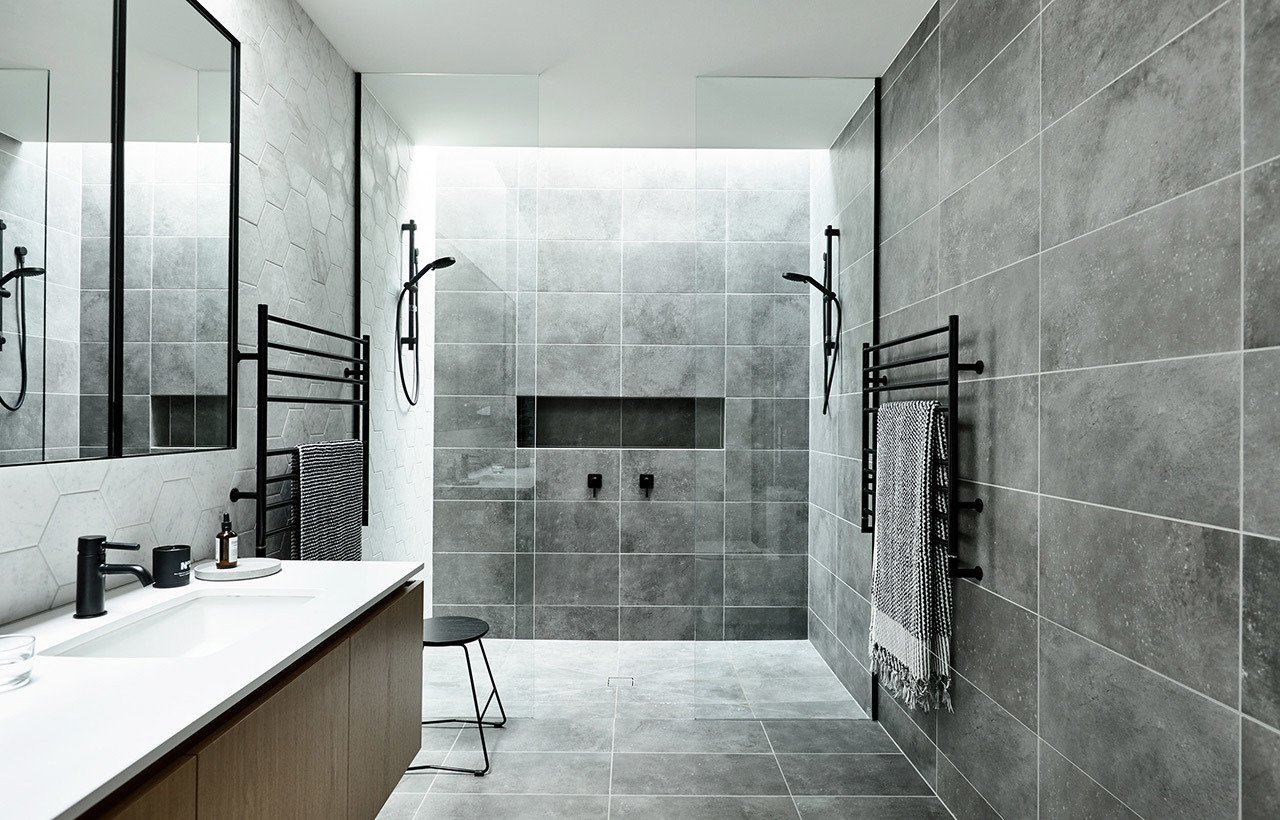 Bath Room, Open Shower, and Ceramic Tile Floor  Brighton 5 by InForm