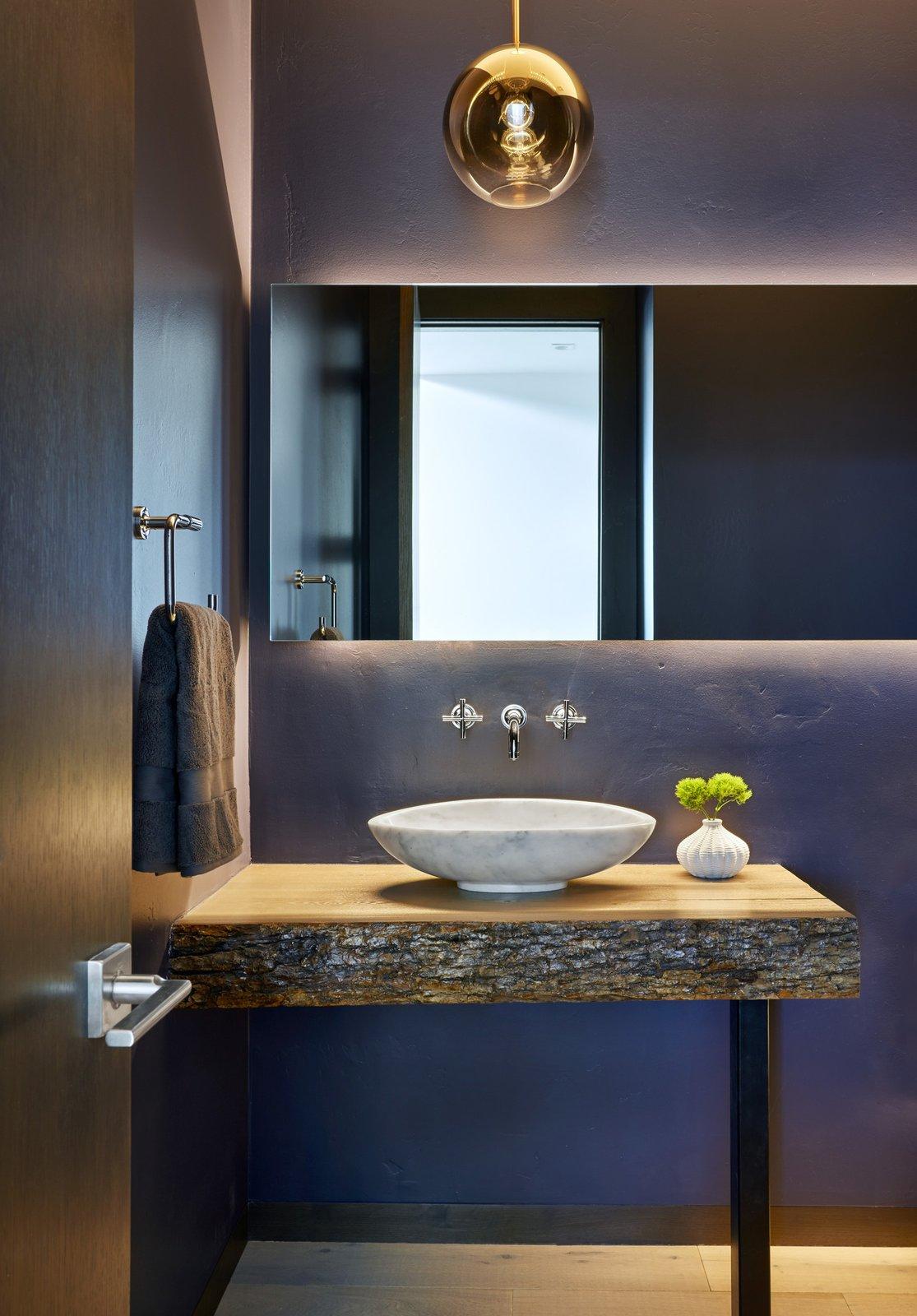 Bath Room, Wood Counter, Pendant Lighting, Vessel Sink, and Medium Hardwood Floor  Terrace Drive by KA DesignWorks