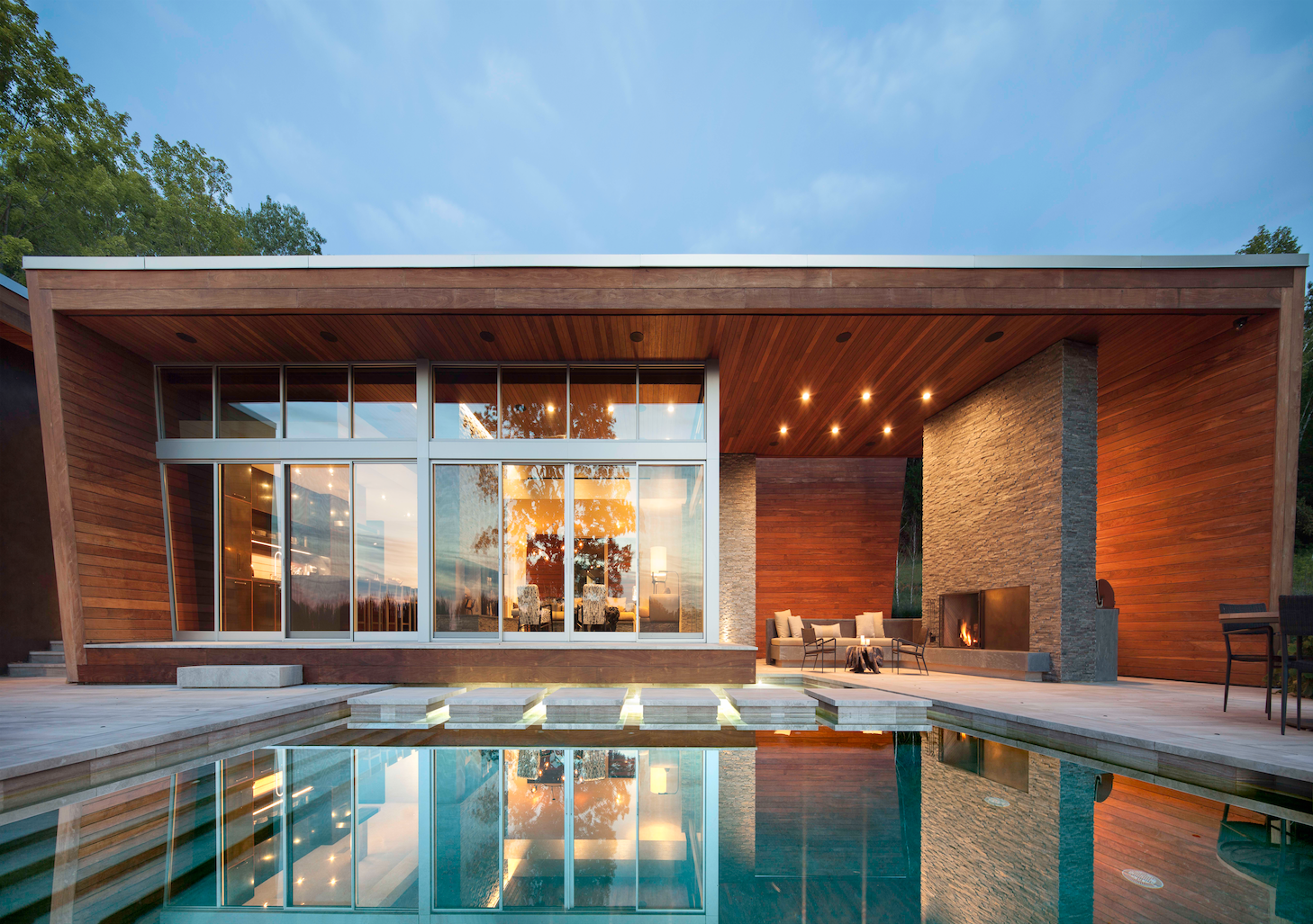 Outdoor, Infinity Pools, Tubs, Shower, Pavers Patio, Porch, Deck, Large Patio, Porch, Deck, and Wood Patio, Porch, Deck  Taghkanic House by Hariri & Hariri Architecture