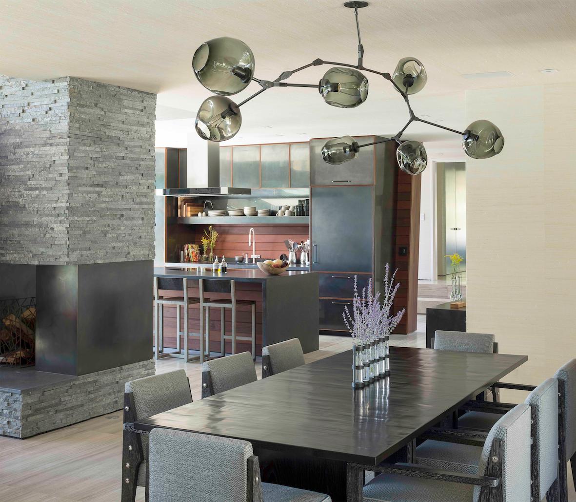 Dining Room, Table, Chair, Light Hardwood Floor, and Ceiling Lighting  Taghkanic House by Hariri & Hariri Architecture