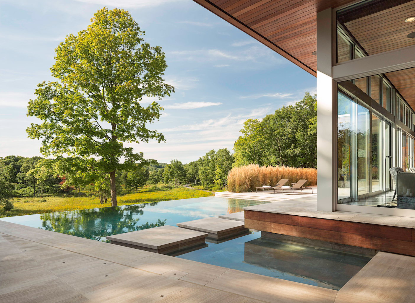 Outdoor, Grass, Infinity Pools, Tubs, Shower, Trees, Swimming Pools, Tubs, Shower, Wood Patio, Porch, Deck, Large Pools, Tubs, Shower, and Large Patio, Porch, Deck  Taghkanic House by Hariri & Hariri Architecture