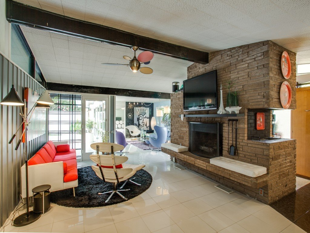 Living Room, Bench, Chair, Sofa, Porcelain Tile Floor, End Tables, Ceiling Lighting, and Standard Layout Fireplace  Candy-Colored Mid-Century Modern Throwback