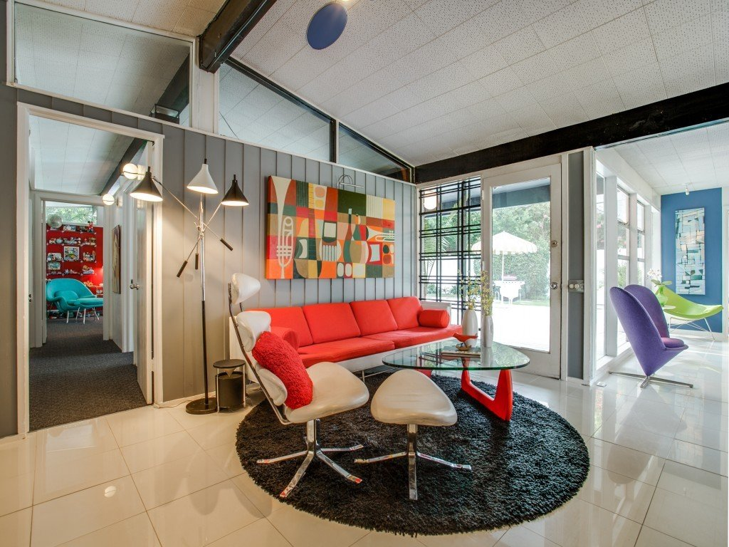 Living Room, Sofa, and Chair  Candy-Colored Mid-Century Modern Throwback