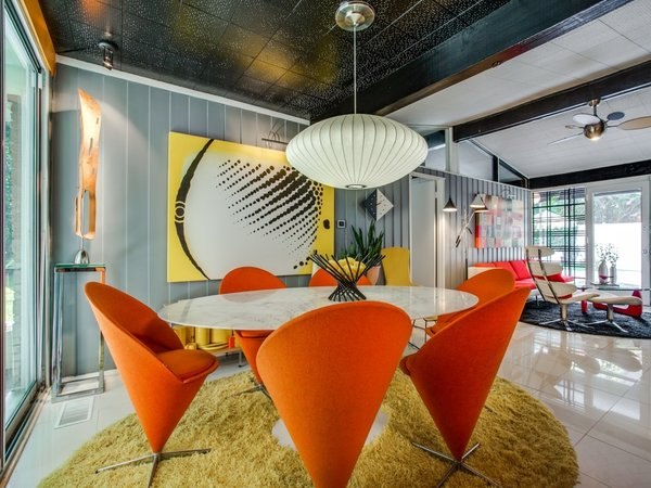 Dining Room, Ceramic Tile Floor, Ceiling Lighting, Chair, and Table  Candy-Colored Mid-Century Modern Throwback