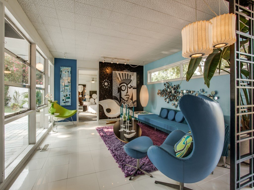 Living Room, Chair, Porcelain Tile Floor, End Tables, and Coffee Tables  Candy-Colored Mid-Century Modern Throwback