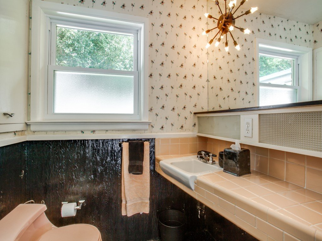 Bath Room, Tile Counter, Two Piece Toilet, Pendant Lighting, and Drop In Sink  Candy-Colored Mid-Century Modern Throwback