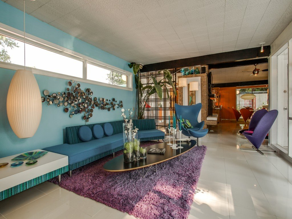 Living Room, End Tables, Chair, Sofa, Sectional, and Pendant Lighting  Candy-Colored Mid-Century Modern Throwback