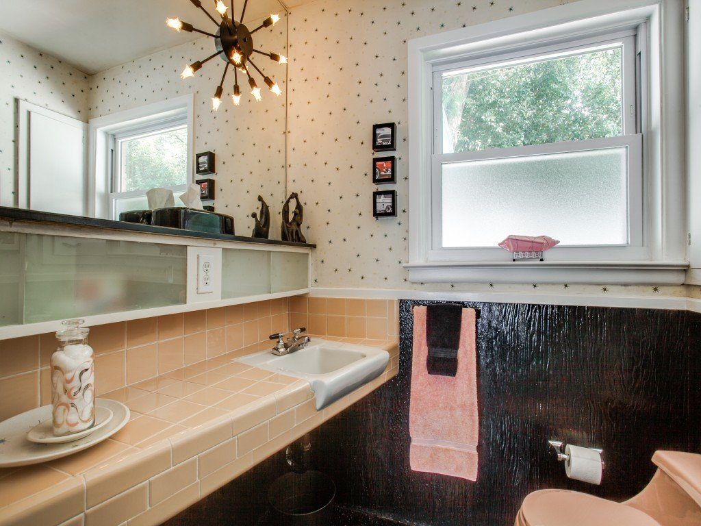 Bath Room, Two Piece Toilet, Drop In Sink, Tile Counter, and Pendant Lighting  Candy-Colored Mid-Century Modern Throwback
