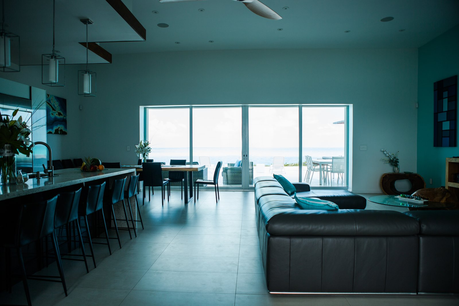 Sectional, Sofa, Pendant Lighting, Dining Room, Chair, and Table  Tip of the Tail Villa