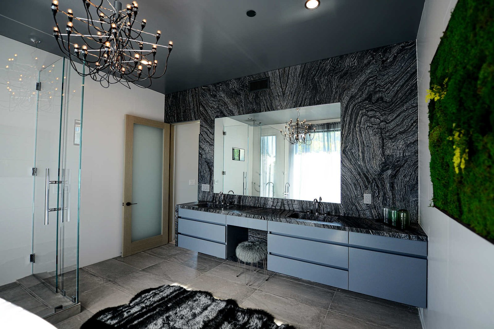 Bath Room, Corner Shower, Enclosed Shower, Ceiling Lighting, and Drop In Sink  Italian Modernist Home