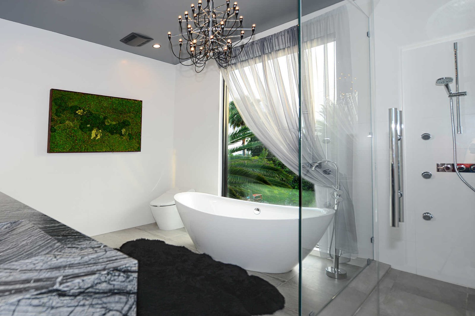Tagged: Bath Room, Freestanding Tub, Soaking Tub, Enclosed Shower, and Corner Shower.  Italian Modernist Home