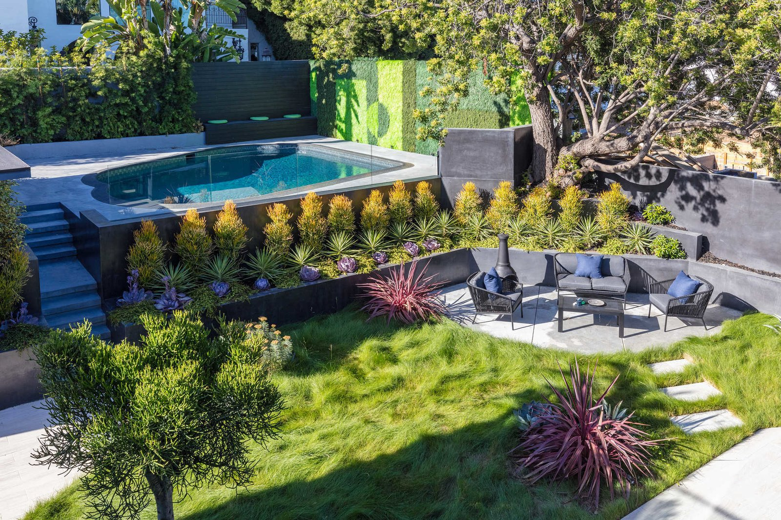 Outdoor, Back Yard, Trees, Large Pools, Tubs, Shower, Grass, Shrubs, Gardens, Raised Planters, Large Patio, Porch, Deck, and Walkways  Italian Modernist Home