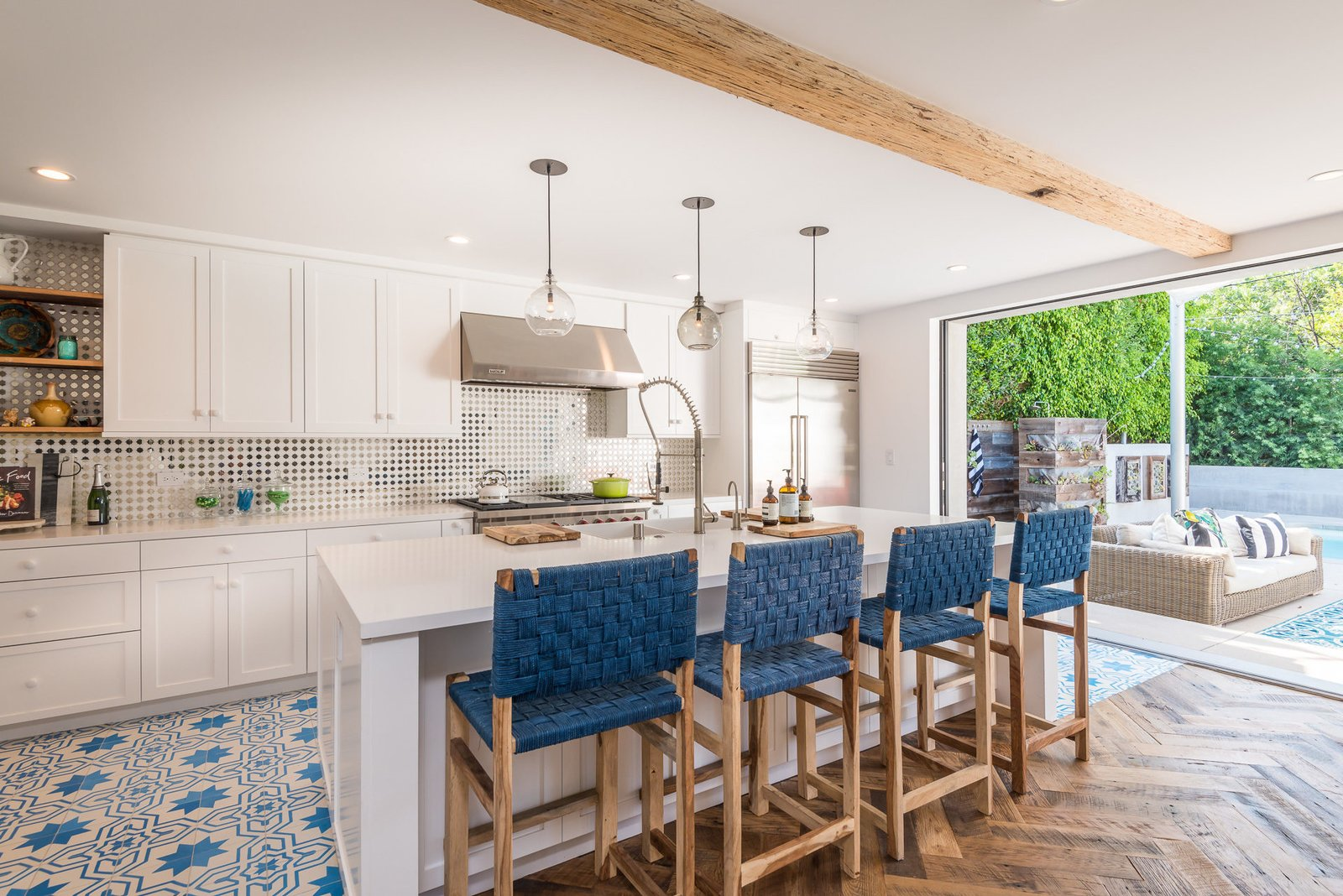 Tagged: Kitchen, White Cabinet, and Pendant Lighting.  Mid-Century Meets Boho Chic