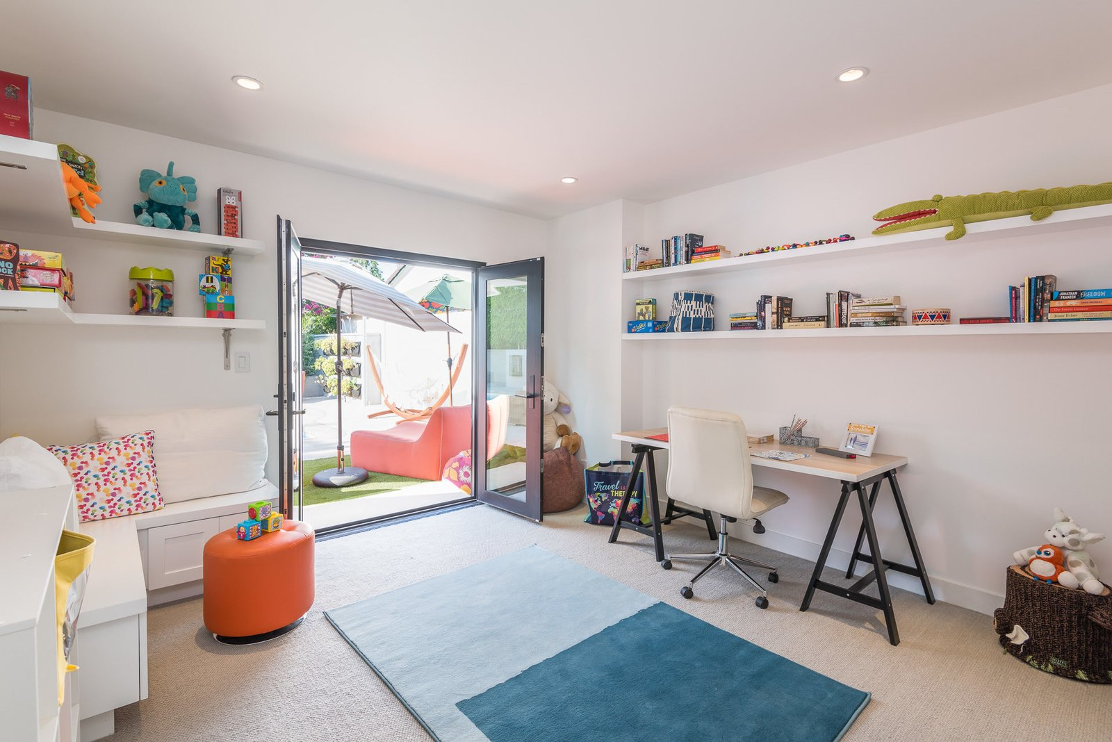 Office, Craft Room Room Type, Chair, Desk, and Shelves  Mid-Century Meets Boho Chic