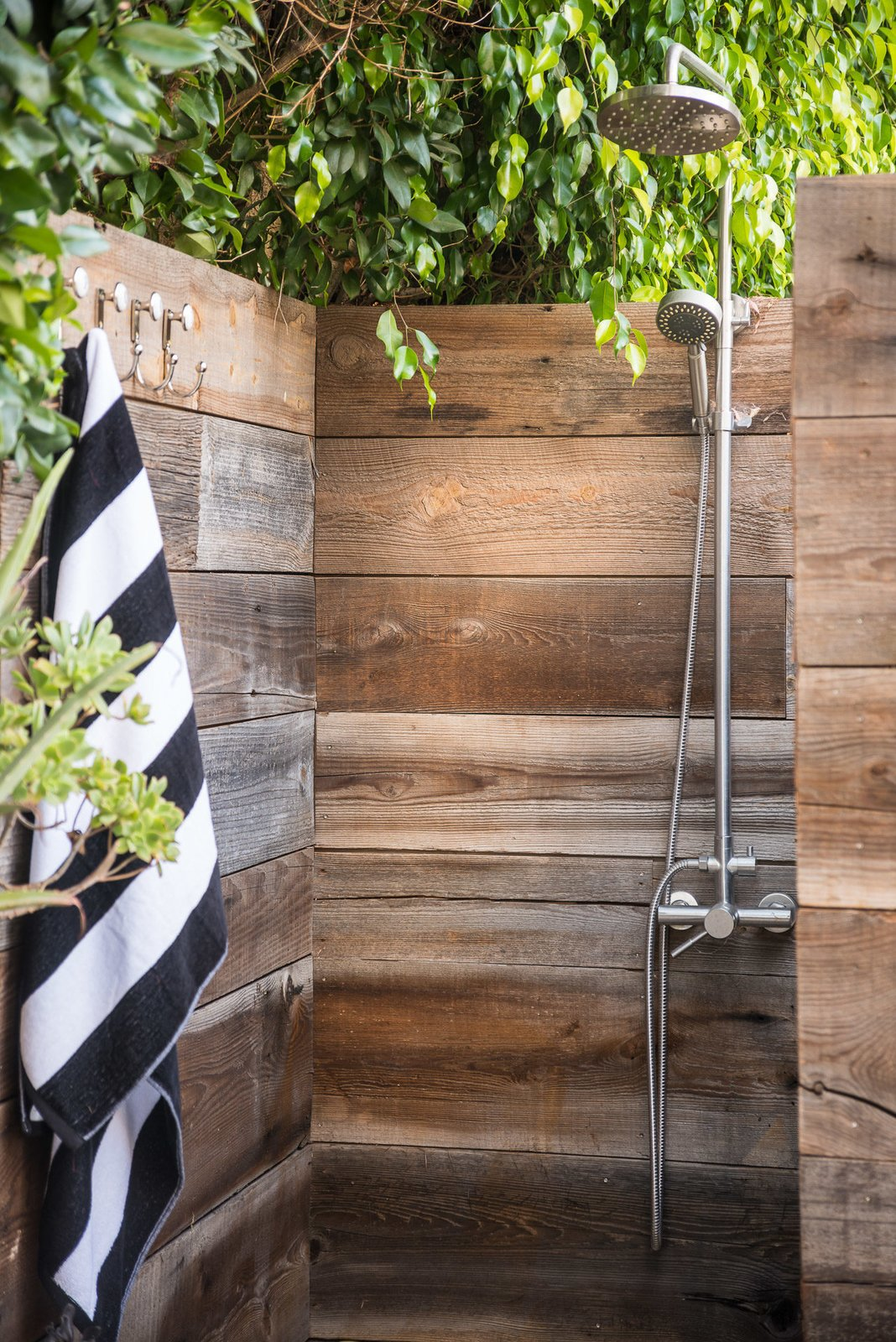 Back Yard, Bath Room, and Open Shower  Mid-Century Meets Boho Chic