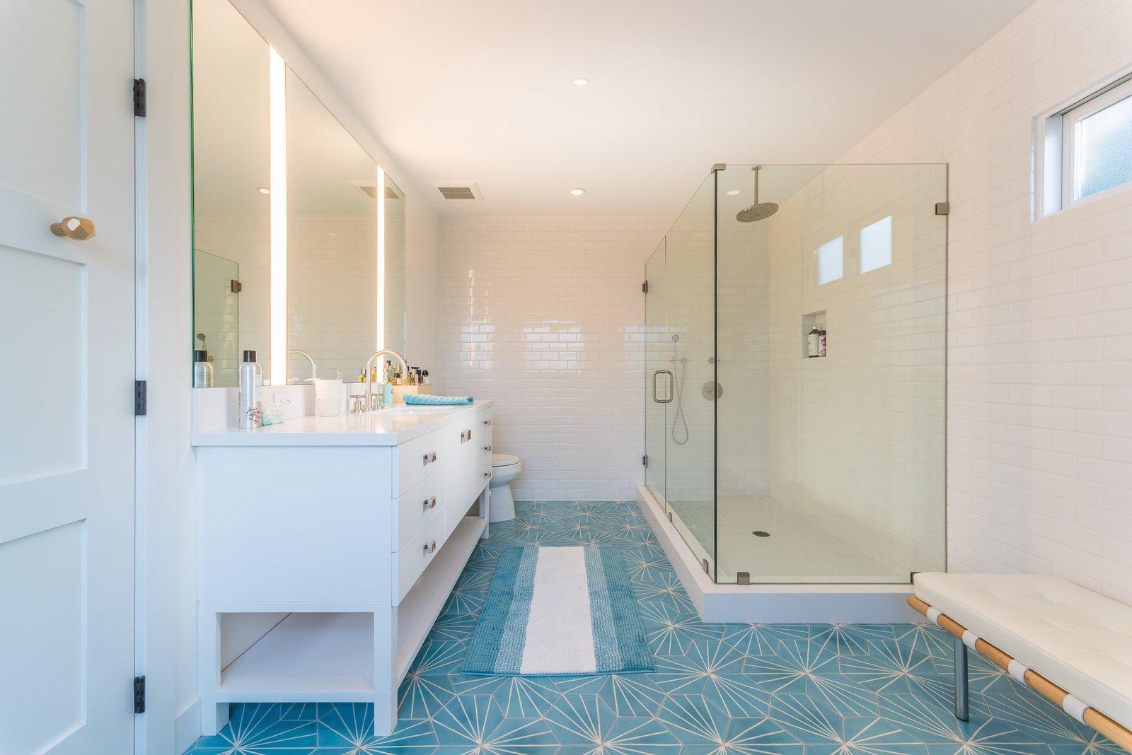 Bath Room, Enclosed Shower, and Corner Shower  Mid-Century Meets Boho Chic
