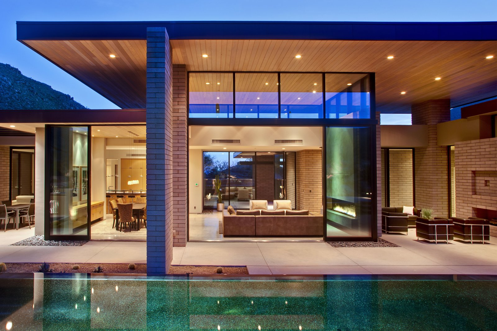 Outdoor, Desert, Back Yard, Large Pools, Tubs, Shower, Concrete Pools, Tubs, Shower, Infinity Pools, Tubs, Shower, and Concrete Patio, Porch, Deck  Desert Mountain Home by Kevin B Howard Architects