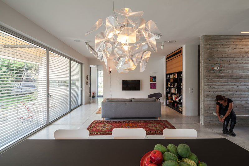 Table, Concrete Floor, Table Lighting, Ceiling Lighting, Pendant Lighting, Track Lighting, Living Room, Bench, Sofa, and Carpet Floor  Urban Life In The Country