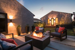 Backyard Seating & Fire Pit at Night