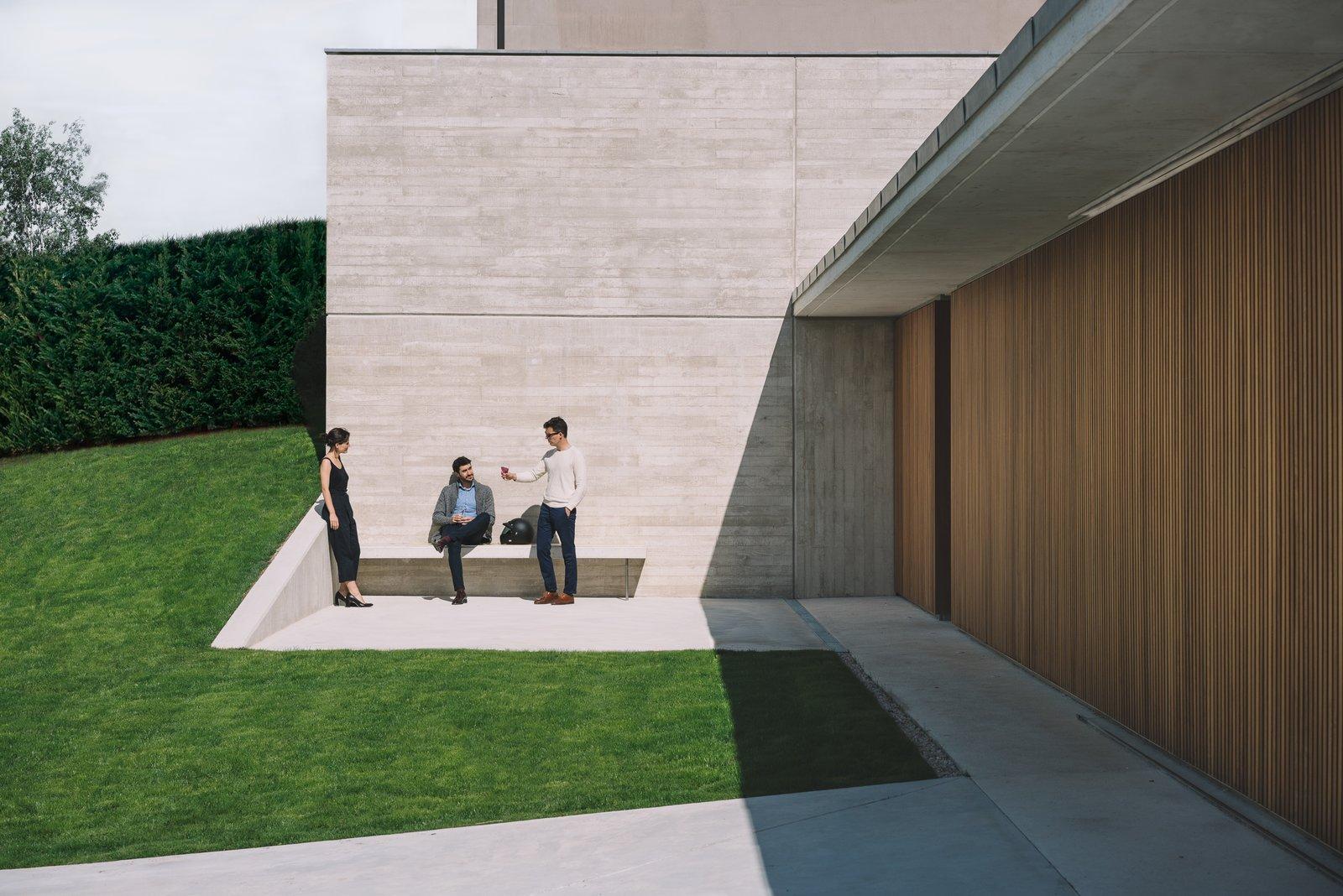 Outdoor, Front Yard, Gardens, Garden, Grass, Wood Patio, Porch, Deck, Metal Patio, Porch, Deck, and Concrete Patio, Porch, Deck  The Öcher House by MLMR Architecture Consultancy