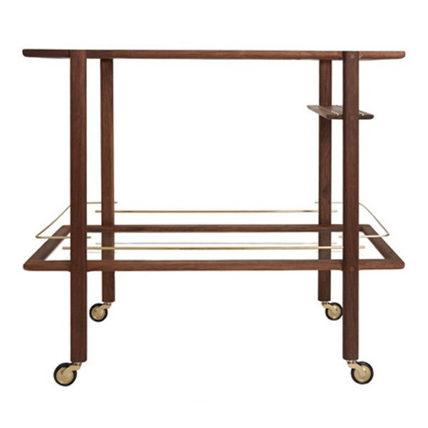 Chris Earl Walnut &Brass Mid-Century Bar Cart