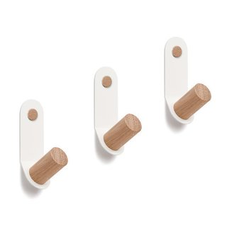 Wood & Steel Single Wall Hooks (Set of 3)