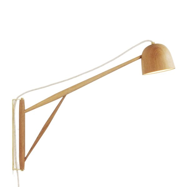 White Oak Crane Wall Swing Lamp