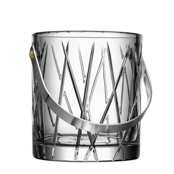 "Orrefors Crystal Ice Bucket ""City"""