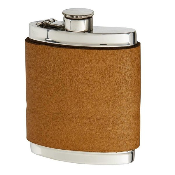 Leather Captive Top Pewter Flask