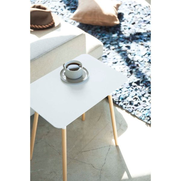 Steel & Wood Square Side Table
