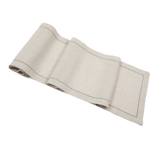 Natural Linen Table Runner with Charcoal Hemstitch
