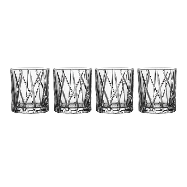 Orrefors City Crystal Old Fashioned Glasses (Set of 4)