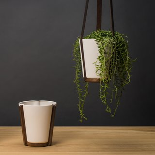 Ceramic & Walnut Hanging Base Planter