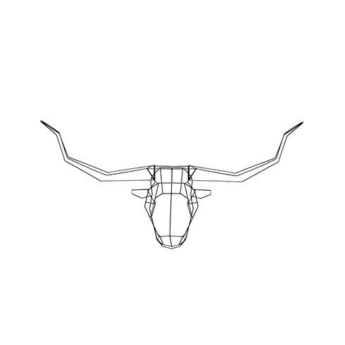Geometric Longhorn Sculpture