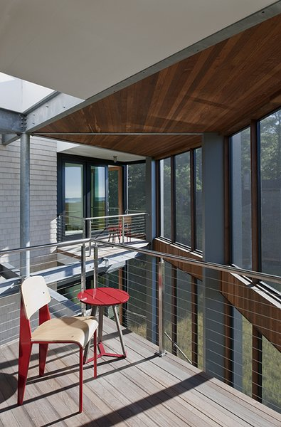 Outdoor, Small Patio, Porch, Deck, Large Patio, Porch, Deck, Wood Patio, Porch, Deck, Metal Patio, Porch, Deck, Decking Patio, Porch, Deck, Horizontal Fences, Wall, Wire Fences, Wall, and Metal Fences, Wall  Marsh House by McInturff Architects