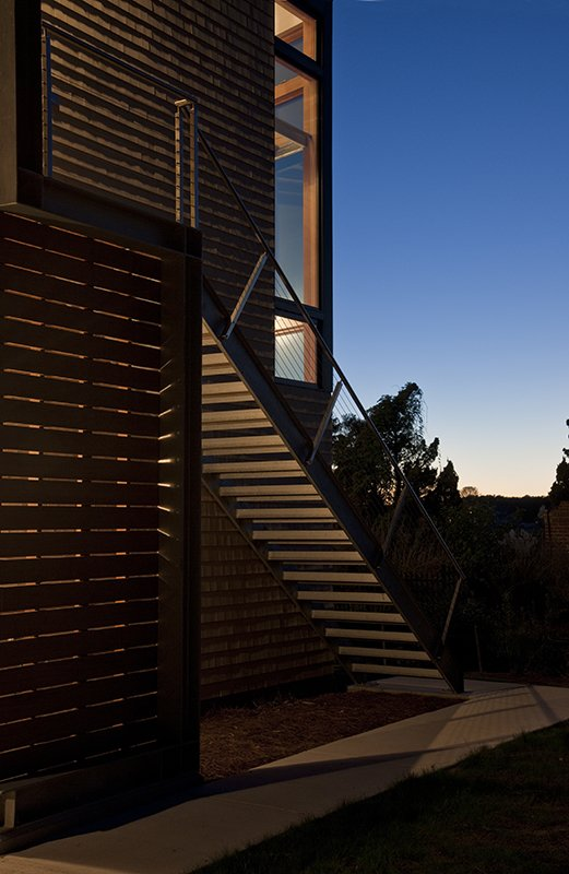 Staircase, Metal Railing, Wood Tread, Wood Railing, and Cable Railing  Marsh House by McInturff Architects