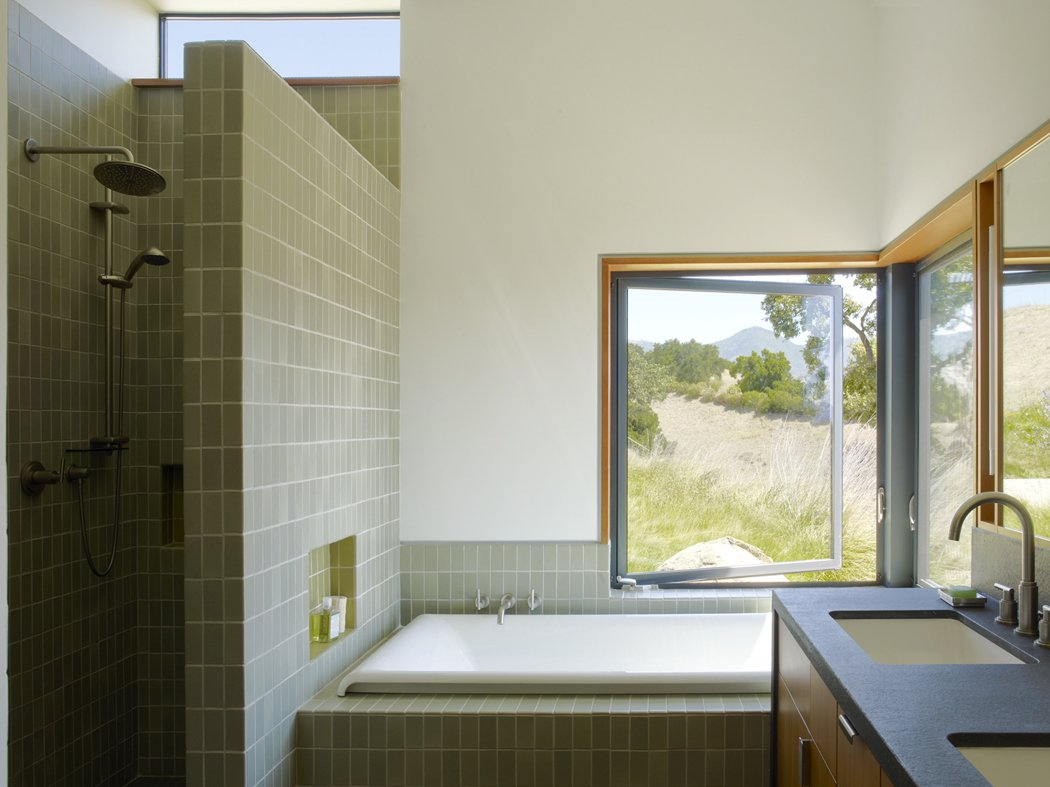 Bath Room, Drop In Tub, Undermount Sink, and Corner Shower  Photo 13 of 40 in 40 Modern Bathtubs That Soak In the View from Santa Ynez House