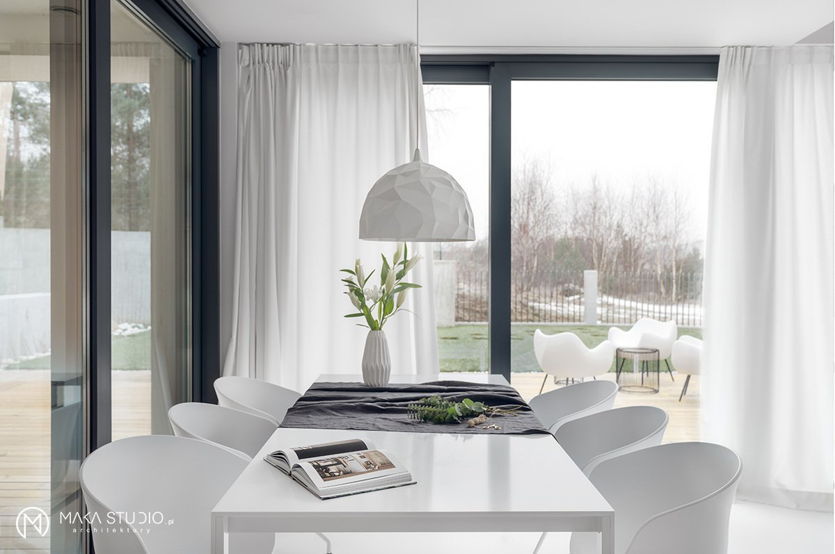 Dining Room, Chair, Table, Pendant Lighting, and Lamps  Minimal Seaside Villa