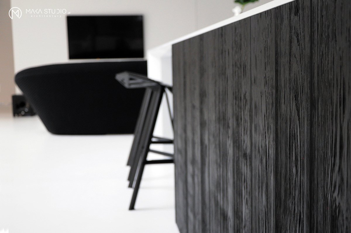 Kitchen, Stone Counter, and Wood Cabinet  Minimal Seaside Villa