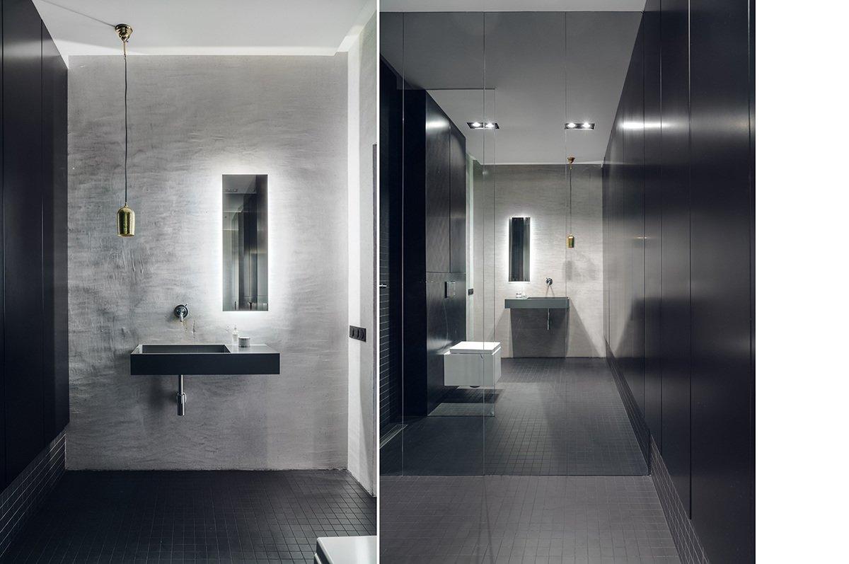 Bath Room, Wall Mount Sink, Ceramic Tile Floor, Quartzite Counter, Engineered Quartz Counter, Enclosed Shower, Wall Lighting, Recessed Lighting, Concrete Wall, Pendant Lighting, Mosaic Tile Wall, and One Piece Toilet  Minimal Seaside Villa