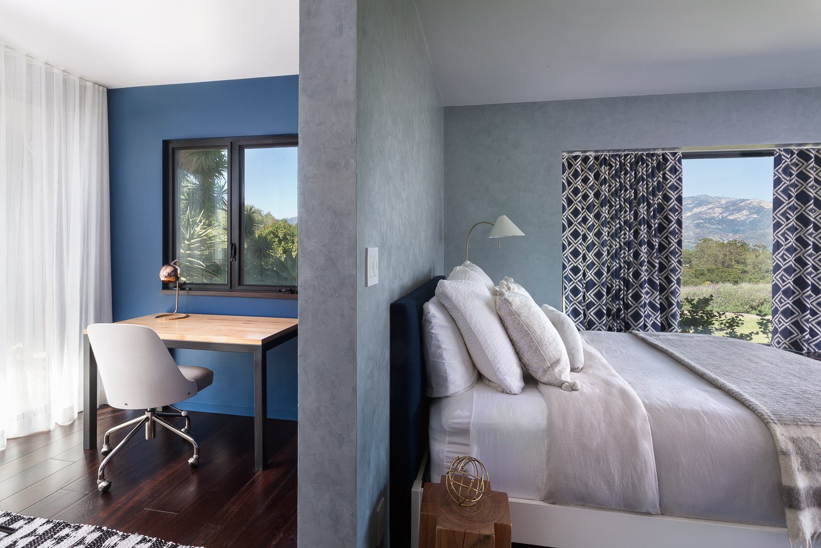 Bedroom, Bed, Chair, Dark Hardwood Floor, and Table Lighting  Hope Ranch Residence by Blackbird Architects