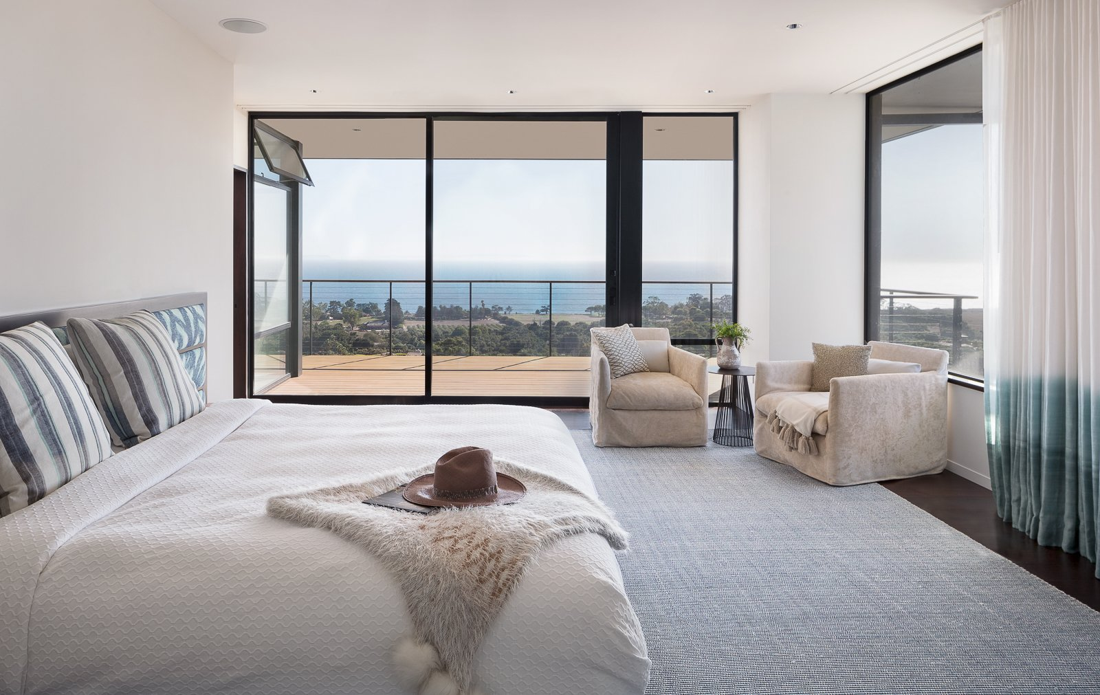 Bedroom, Bed, Chair, Recessed Lighting, and Dark Hardwood Floor  Hope Ranch Residence by Blackbird Architects