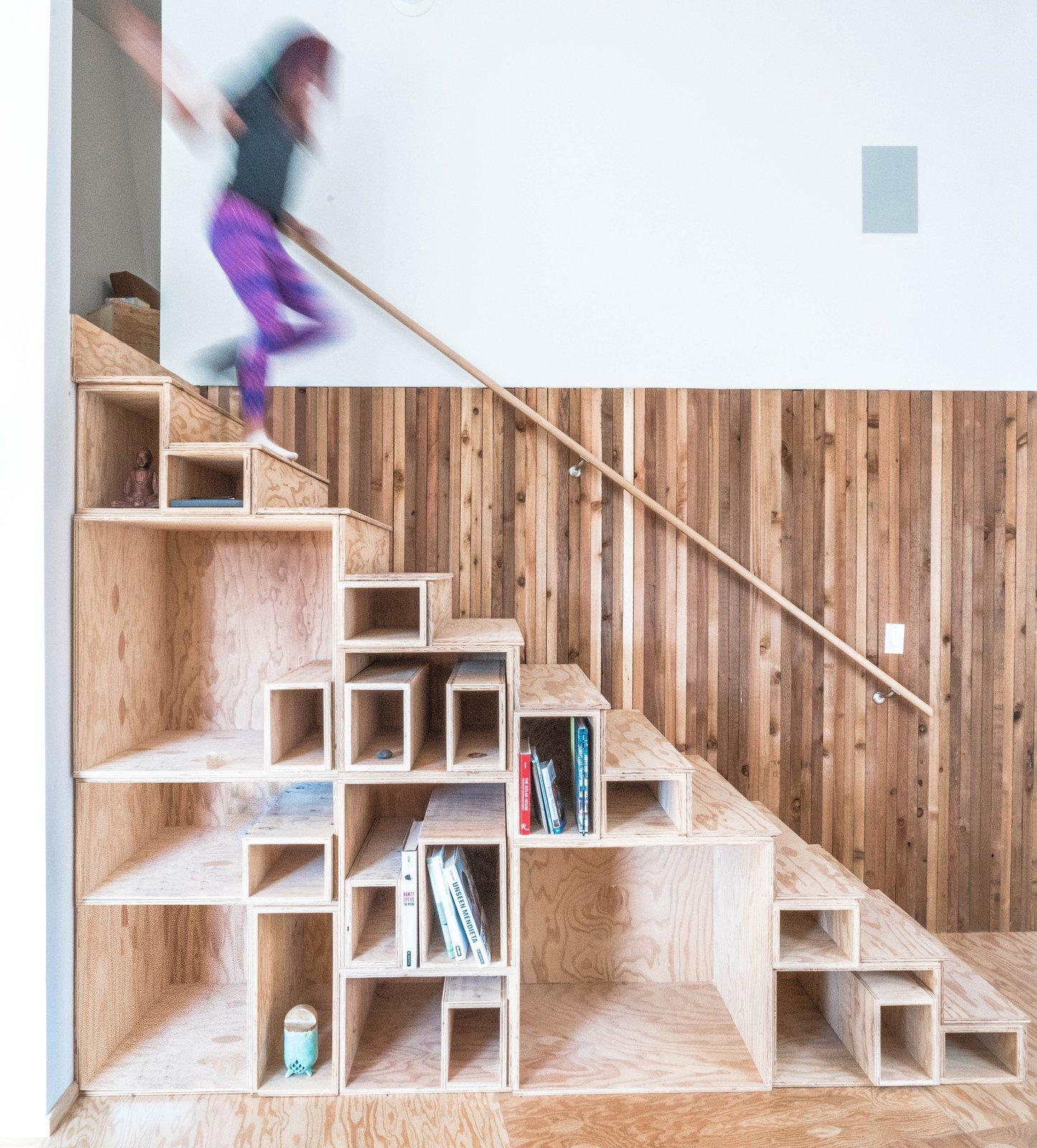 Wood Railing, Wood Tread, Under Stairs Storage Type, and Storage Room  MARTaK Passive House