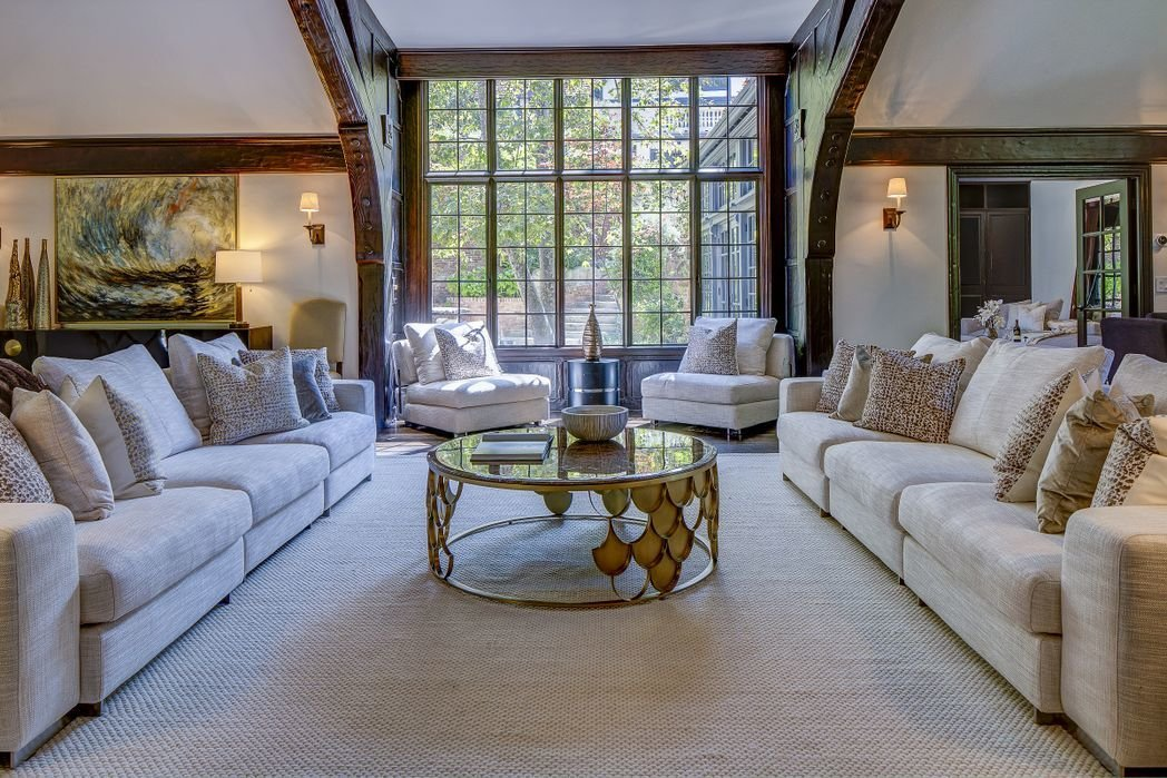 Living Room, Sofa, and Coffee Tables  Gerard Colcord-Designed Bel Air Estate